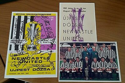 Signed 1969 Fairs Cup Final Programme Cover 7x5 PHOTO - Newcastle v Ujpest Dozsa
