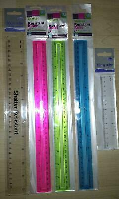 "Clear & Colour Plastic Ruler Shatter Resistant Shatter Proof 15cm 6"" 12"" Rulers"