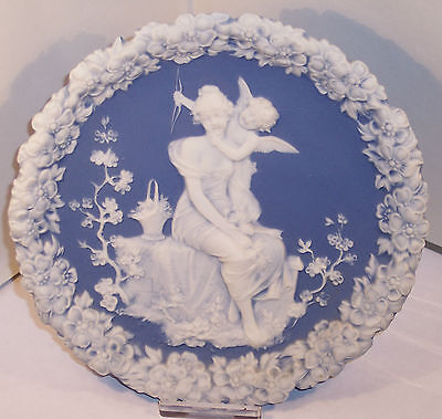 Antique Germany Shafer Vater China Jasper Ware Blue Plaque Plate Dish Cupid Lady