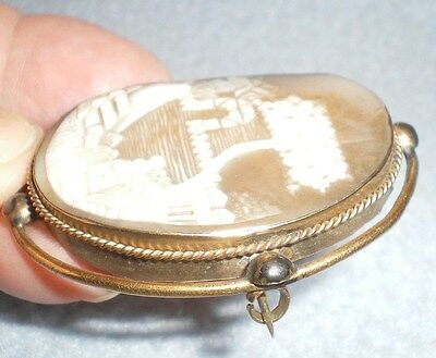 """Antique Carved Shell Cameo Brooch Pin Landscape Tree House Women Gold Plated 2"""""""