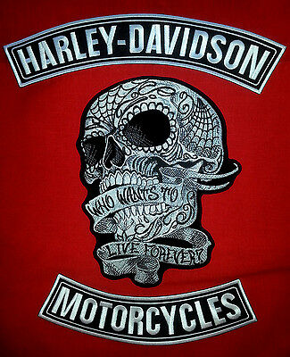 Harley Davidson Blk&white Rockers With 7'' By 11''  Sugar Skull Patch