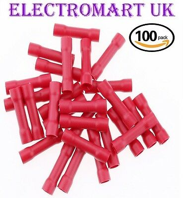 100 Red Butt Insulated Wire Cable Electrical Crimp Terminal Joiners
