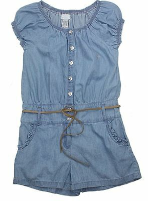 NEW Girls' Guess Belted Cotton Chambray Romper - 8 / 10 /12