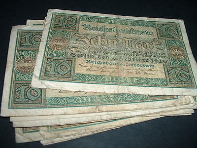 GERMANY WW1  BANKNOTE  10 MARKS 1920  USED  ONLY 99p FOR 1
