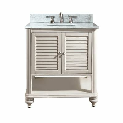Avanity Tropica 24 in. Vanity with Carrera White Marble Top and Sink in Antique