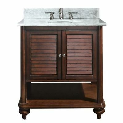 Avanity Tropica 30 in. Vanity with Carrera White Marble Top and Sink in Antique