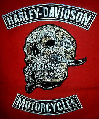 Harley Davidson Blk&white Rockers W/ 7'' By 11''  Sugar Skull Ride Forever Patch