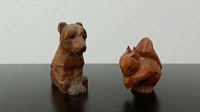anri carved wood ,black forest,bear and squirrel,