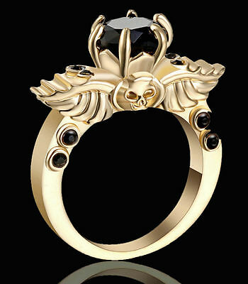 Goth Golden Gold Black Onyx Evil Skull Ring Size 6 Replica Gothic Wings Alchemy