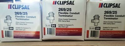 Clipsal Offer 269/25 Flexible Conduit Terminator Straight 25mm Package of 3