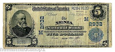 Xenia, Ohio (OH) $5 Large, Blue Seal 1902 National Bank Note, Ch 2932