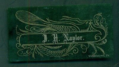 1890's Unique Celluloid Calling Card - Weigelstown, PA