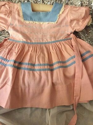 Circa Mid Century Antique Girl Dress Pink/Blue embroidered Size 2
