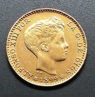 """1899 MP-M SPAIN 20 Pesetas Gold Coin. ALFONSO XIII  """"XF""""    KM#: 709"""