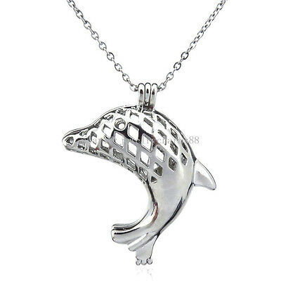 K106 Silver Dolphin Cage Locket Necklace Beads Cage Steel Rolo Chain