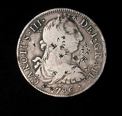 1786-FM Mexico 8 Reales silver coin with chop marks KM# 106.2