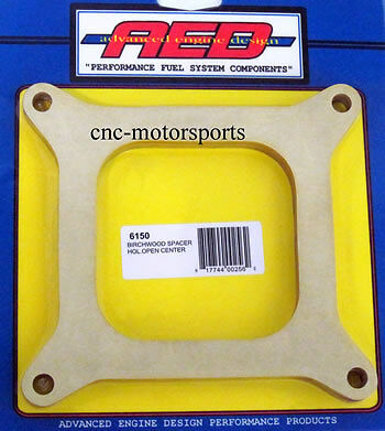 AED Holley CARBURETOR BIRCHWOOD SPACER OPEN CENTER 4150 CARB 1/2 INCH