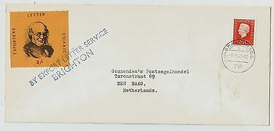 GB 1971 Strike Mail - Export Letter Service Brighton cover to Netherlands