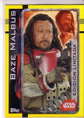 Star Wars Rogue One Baze Malbus Limited Edition Trading Card LESB topps gold neu
