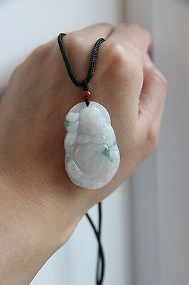 Gemstone Genuine natural white green jadeite jade Buddha pendant certificated