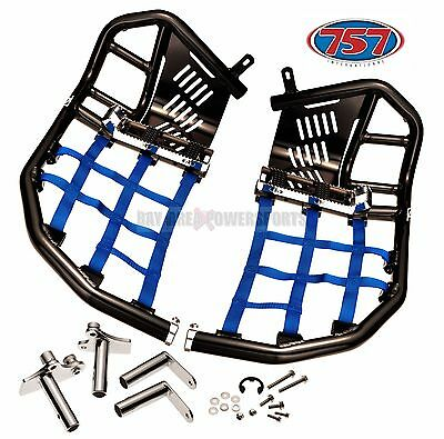 Yamaha Raptor 700 Nerf Bars Foot Pegs Heel Guards Black Bars Blue Nets