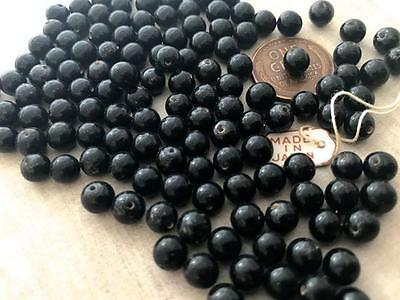 Vintage 6mm Jet Black Glass Half Drilled Beads Japan 144