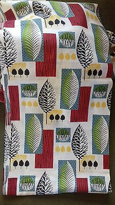 Gorgeous Vintage Retro 1950s Fabric Mid Century Abstract Leaves 9 metres