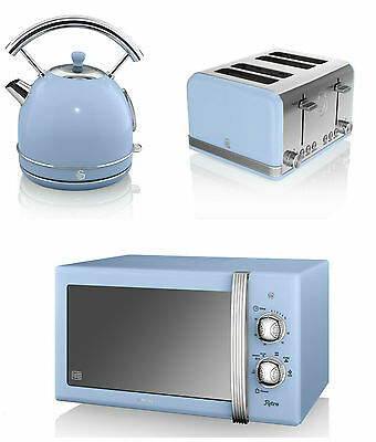 Swan Kitchen Retro BLUE Manual 20L Microwave,1.7L Dome Kettle & 4 slice Toaster