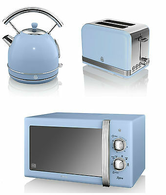 Swan Kitchen Retro BLUE Manual 20L Microwave,1.7L Dome Kettle & 2 slice Toaster