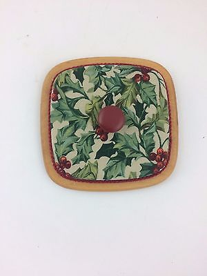 Longaberger American Holly Christmas LID for Small Spoon or Teaspoon Basket
