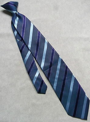 VINTAGE RETRO CLIP-ON TIE MENS READY TIED OFFICE SECURITY 1990s PURPLE STRIPED