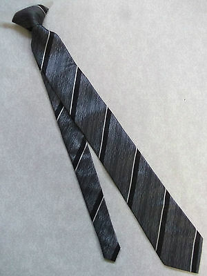 CLIP ON READY TIED MENS TIE VINTAGE RETRO 1960s GREY BLACK STRIPED REDI-KNOT MOD