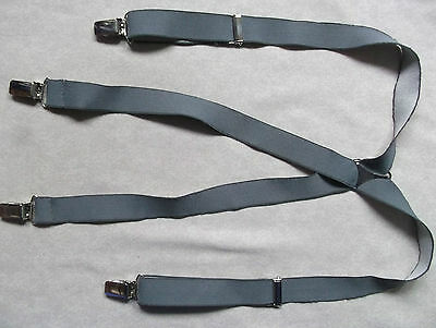 VINTAGE 25mm SKINHEAD SKA CLIP ON BRACES 1970s 1980s MENS GREY ONE SIZE