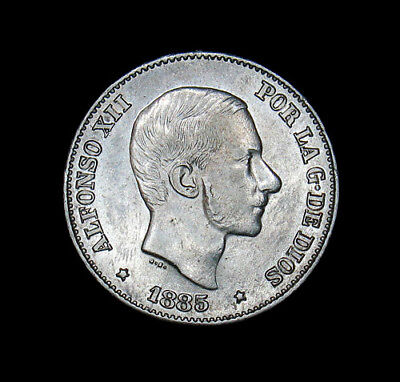 1885 Philippines 50 Centimos Silver Coin About Unicirculated Lustrous AU