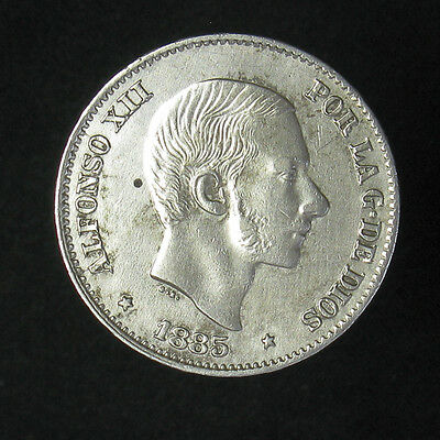1885 Philippines 50 Centimos Silver Coin XF