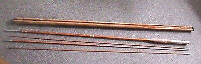 Antique cane/bamboo 4 piece fly fishing rod w/cork handle and holder