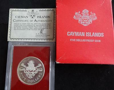 1977 35.50grams SILVER PROOF CAYMAN ISLANDS $5 COIN IN CASE + BOX + COA