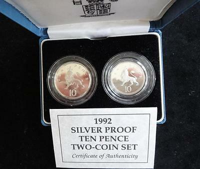 1992 SILVER PROOF UK 10 PENCE TWO COIN BOX SET + COA NEW SMALLER & LAST BIG 10p