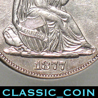 1877 SILVER SEATED LIBERTY HALF DOLLAR 50c UNCIRCULATED DETAILS 140 YEARS OLD