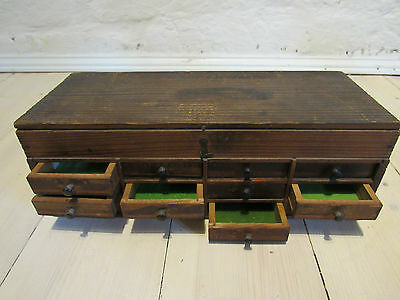 antique miniature collectors chest  with draws and turned ebony handles