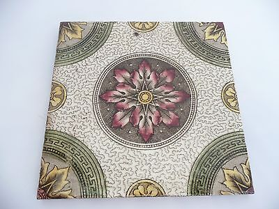 "Super Antique English Victorian Flower Red & Green Tile 6"" X 6"""