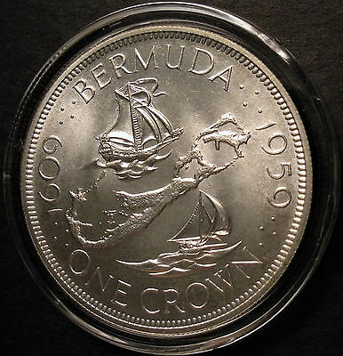 1959 Bermuda Silver One Crown 350th Anniversary Commemorative Coin .925 silver