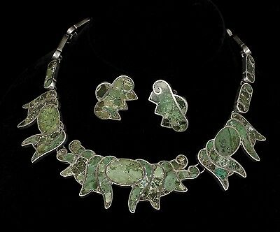 stunning vintage Deco Mexican 980 silver Necklace Earrings Mozaico Azteca inlay