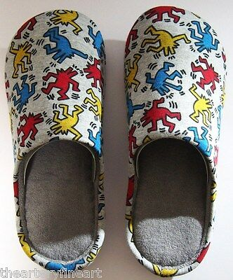 KEITH HARING x UNIQLO 'Dancing Dogs' Unisex Room Shoes / Slippers M 9 / W 10 NEW