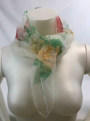 "Sheer Roses 24"" Square Scarf Red Yellow Green See Through Women Rockabilly 50s"