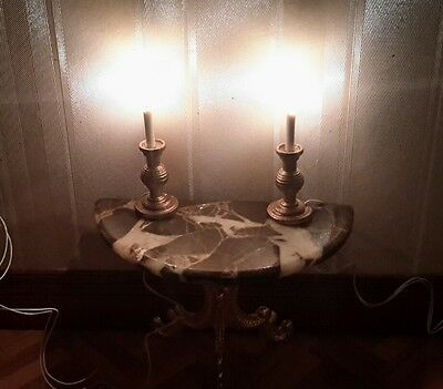 Dolls house pair of lit candle sticks