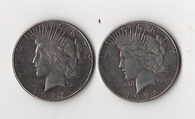 1928 Peace Dollar Two Face Toned Two Headed Novelty Trick Fantasy Coin Magic