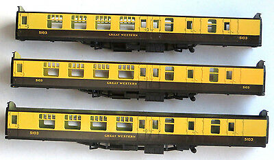 3 x Lima BR mk1 coach body shell, BSK, GWR livery, OO gauge spares