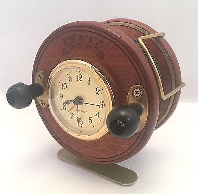 Nice Vintage Peetz Wooden Fishing Reel Talking Alarm Clock Fisherman Fly - WORKS