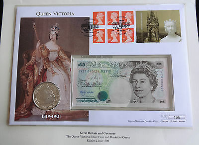 2001 Silver Proof £5 Coin + £5 Banknote Cypher Qv20 000029 Queen Victoria Pnc